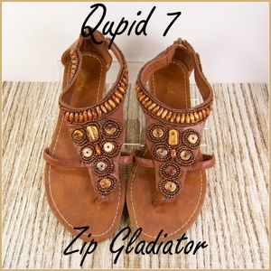 7 Qupid Gladiator Strappy Thong Sandals Zip Back